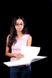 Girl Reading Notes royalty free stock photography