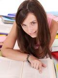 Girl reading open book . Royalty Free Stock Photos