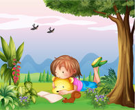 A girl reading at the park Stock Photography