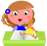Girl reading Pinocchio book vector. Cartoon child reading italian tale Pinocchio at school, vector illustration Stock Photography