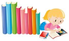 Girl reading storybook alone Stock Photos