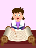 Girl reading the Torah. A girl reading the Torah. Useful also for Bat Mitzvah invitation card or educational purpose. Eps file available Royalty Free Stock Photos