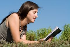 Girl reads book Stock Photo