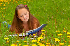 A girl reads a book in the meadow Stock Image