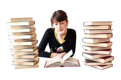 The girl reads books Royalty Free Stock Photos