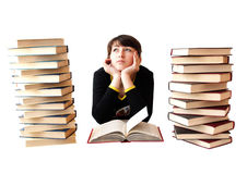 The girl reads books. On a white background Stock Image