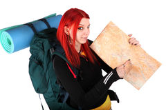 Girl ready for backpacking Stock Image