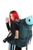 Girl ready for backpacking Royalty Free Stock Photography