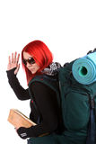 Girl ready for backpacking Stock Images