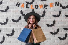 Girl ready for Halloween party Royalty Free Stock Photo