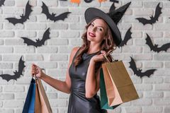 Girl ready for Halloween party Royalty Free Stock Image