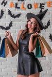 Girl ready for Halloween party Stock Photos