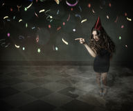 Girl ready for party indicated with finger. People emotions and expressions portrait royalty free stock photography