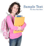 Girl Ready For School With Backpack and Books royalty free stock photo