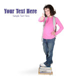 Girl Ready for School Giving a Thumbs Up Royalty Free Stock Image