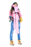 Girl ready to go to school Royalty Free Stock Photos