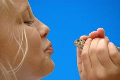 Girl Ready to Kiss Frog. A fairy tale scene where a young girl begins to kiss a frog in hopes for a prince charming Royalty Free Stock Photography