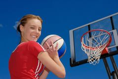 Girl ready to play. Gril is ready to play basketball Stock Photography