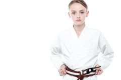 Girl ready to practice karate Royalty Free Stock Photography