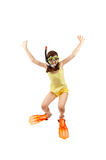 Girl Ready To Swim And Dive Royalty Free Stock Photos
