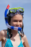 Girl ready to swim and dive. Standing against blue sky Stock Photos