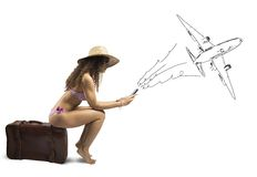 Girl ready to travel. Concept of girl ready to travel with airplane Stock Image