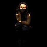 Girl rebel. Crouching woman in the dark Stock Image