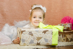 The girl received the long-awaited New Years gift Royalty Free Stock Photography
