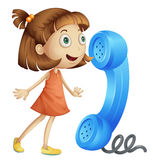 A girl with receiver. Illustration of a girl with phone receiver on a white Royalty Free Stock Photo