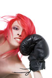 Girl receives a knockout blow in the face Royalty Free Stock Photo