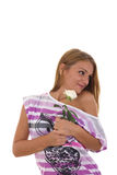 Girl receives a rose as a gift Royalty Free Stock Images