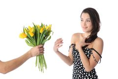 Girl receiving flowers Stock Photography
