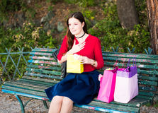 Girl receiving gifts for her birthday Stock Photo