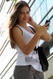 Selfie. Young beautiful brunette caught talking a selfie stock photos