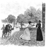 Girl receiving a letter by horseback. Vintage illustration: Receiving a letter, girl shows to an old lady a message delivered by horseback by an army messenger Royalty Free Stock Photo
