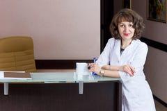 Girl reception desk. Beautiful girl reception desk receptionist professional work Royalty Free Stock Photos