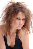 Girl with a reckless hair-cutting Stock Photos