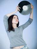 Girl with record royalty free stock photography