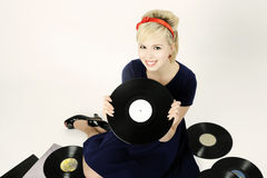 Girl with records Royalty Free Stock Photo