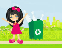 Girl recycling bottles Stock Photos