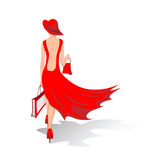The girl in the red Royalty Free Stock Photography