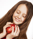 Girl with red apple Stock Images