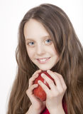 Girl with red apple Royalty Free Stock Image