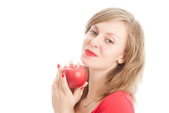 Girl with an red apple. Beautiful woman holding a red apple Royalty Free Stock Images