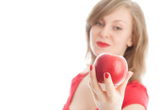 Girl with an red apple. Beautiful woman holding a red apple Stock Photos