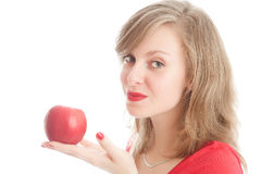 Girl with an red apple. Beautiful woman holding a red apple Stock Photo