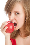 Girl with an red apple. Beautiful woman holding a red apple Stock Images