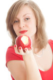 Girl with an red apple. Beautiful woman holding a red apple Stock Image