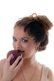 Girl with a red apple Stock Images
