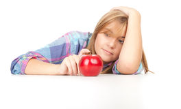 Girl with red apple Royalty Free Stock Photo